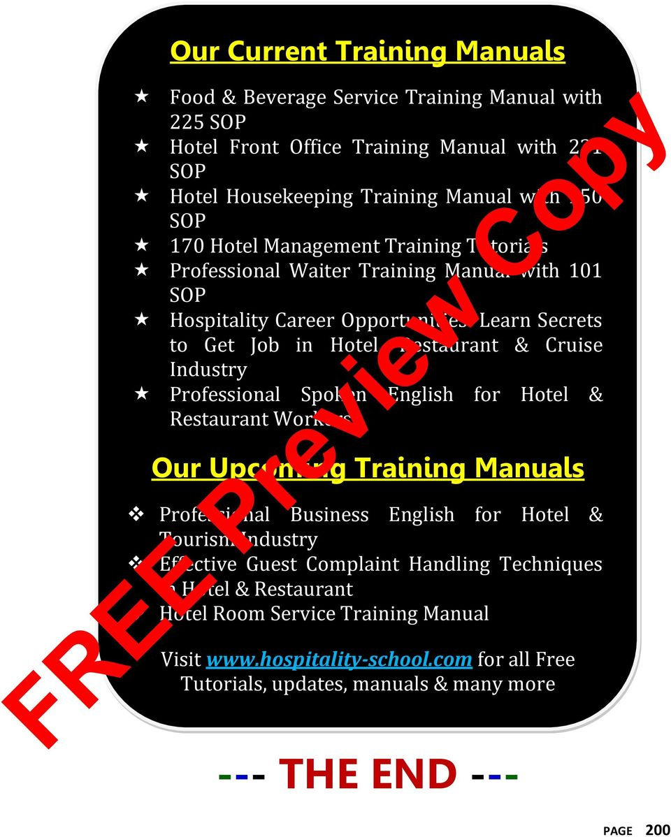 Industry Professional Spoken English for Hotel & Restaurant Workers Our  Upcoming Training Manuals Professional Business English