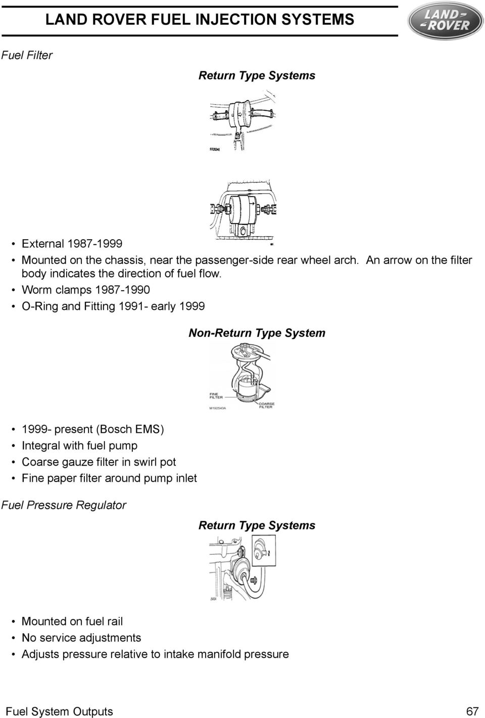 Land Rover Fuel Injection Systems Pdf 200 Eclipse Filter Location Worm Clamps 1987 1990 O Ring And Fitting 1991 Early 1999 Non