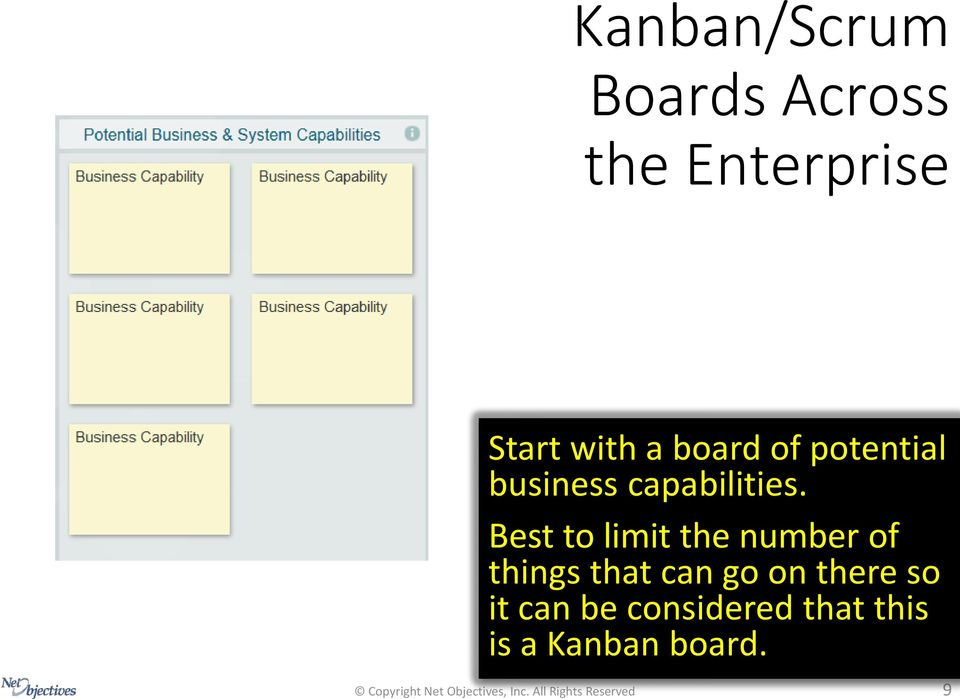 Start with a board of potential business capabilities.