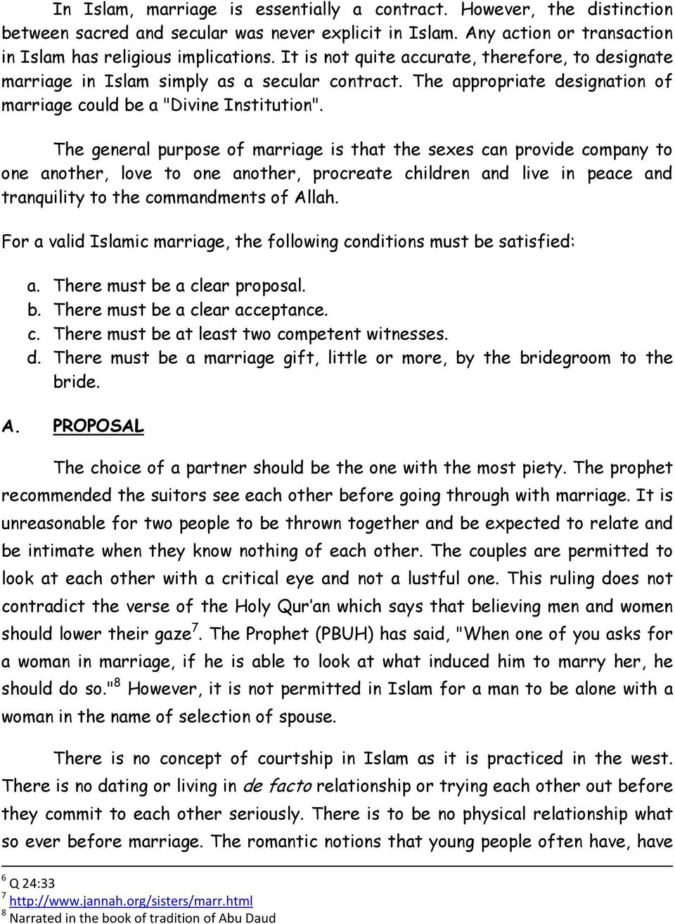 REQUIREMENTS OF A VALID ISLAMIC MARRIAGE VIS-À-VIS