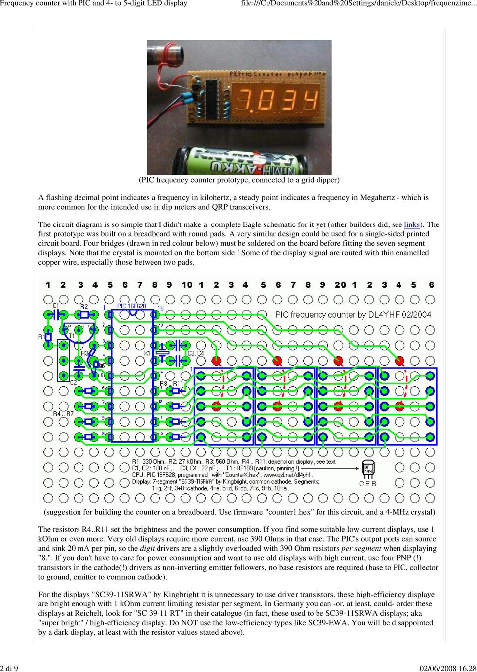 Frequency Counter With A Pic And Minimum Hardware Pdf Figure 1 Pic18f452 Led Blinking Circuit For The Intended Use In Dip Meters Qrp Transceivers Diagram Is So