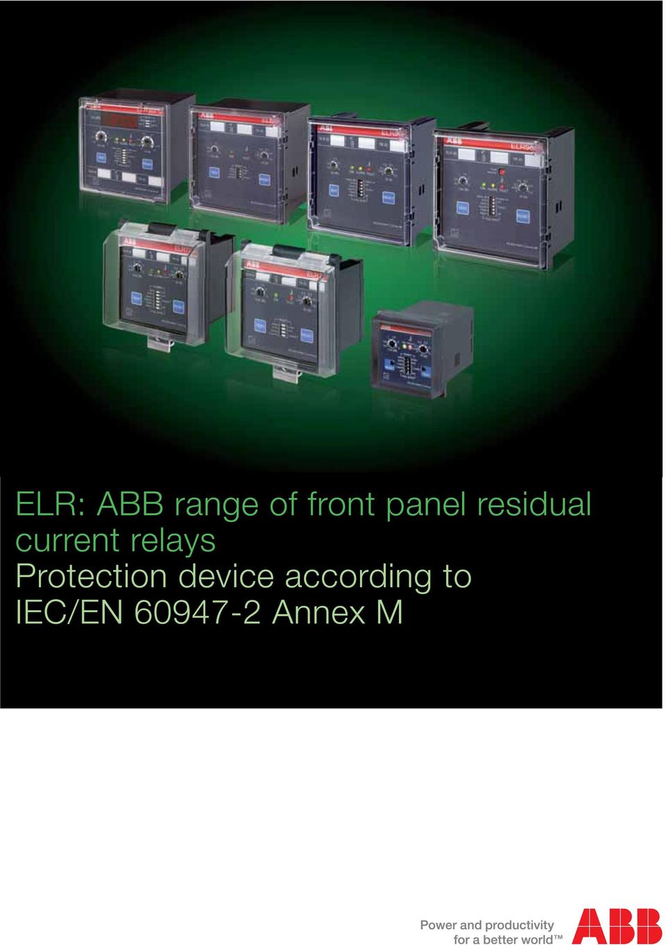 Elr Abb Range Of Front Panel Residual Current Relays Protection Under Relay Device