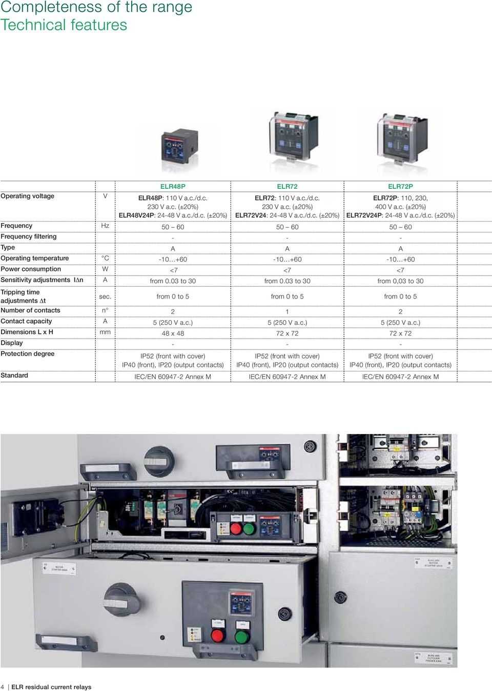 Elr Abb Range Of Front Panel Residual Current Relays Protection Air Circuit Breaker Wiring Diagram 03 To 30 From 003 Tripping Time Adjustments