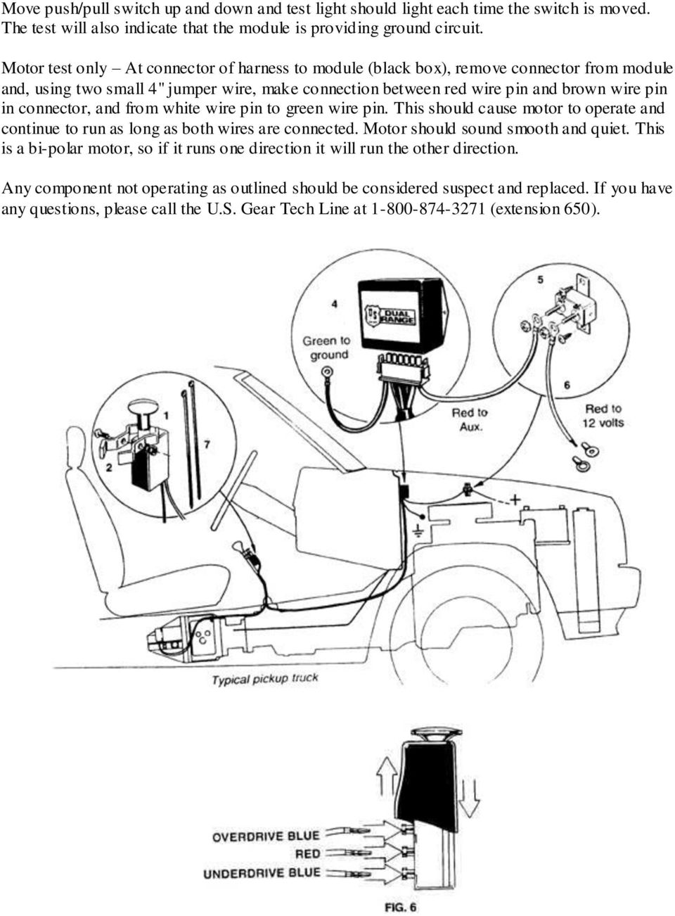 Operation Of The Us Gear Dual Range Tm Auxiliary Transmission Pdf 12 Volt Push Pull Switch Wiring Diagram And From White Wire Pin To Green This Should Cause Motor Operate Timing Diagrams