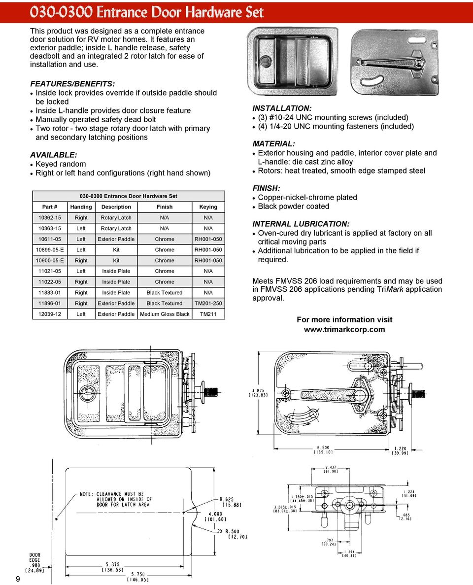 Trimark Service Replacement Parts Pdf Door Knob Latch Diagram Handle Linkage Rod Features Benefits Inside Lock Provides Override If Outside Paddle Should Be Locked L