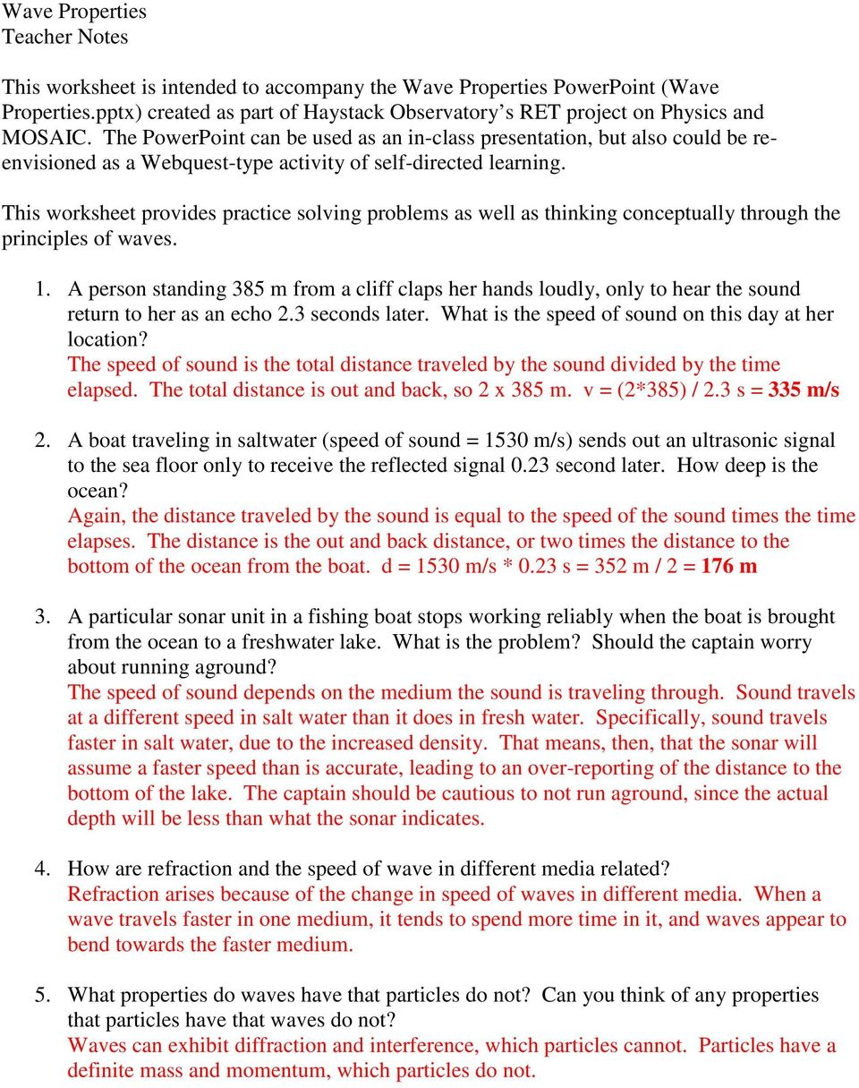 Answer The Following Questions During Or After Your Study Of Wave