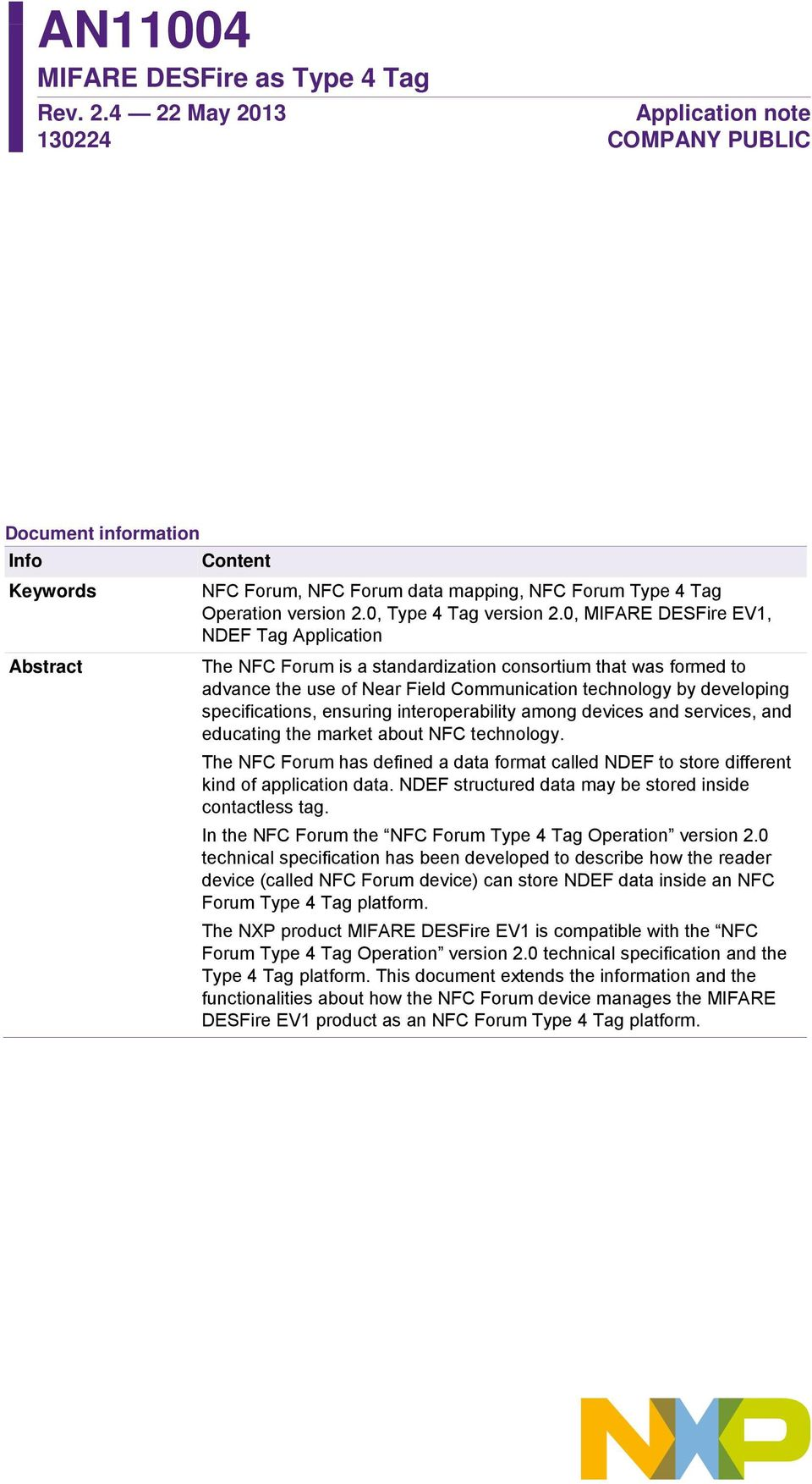 AN MIFARE DESFire as Type 4 Tag  Rev May Application note