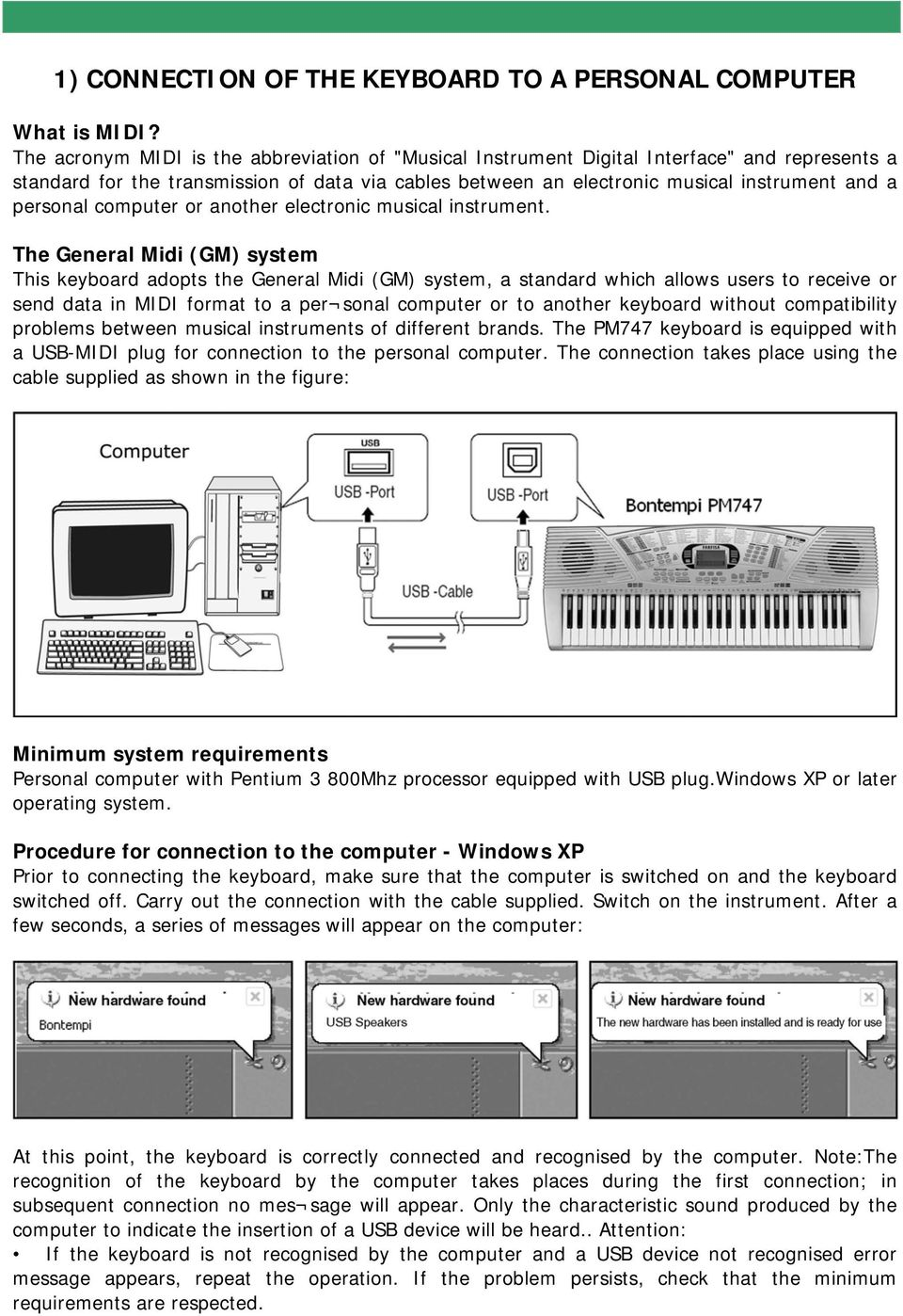Quick Manual to use Bontempi keyboards with the Computer - PDF