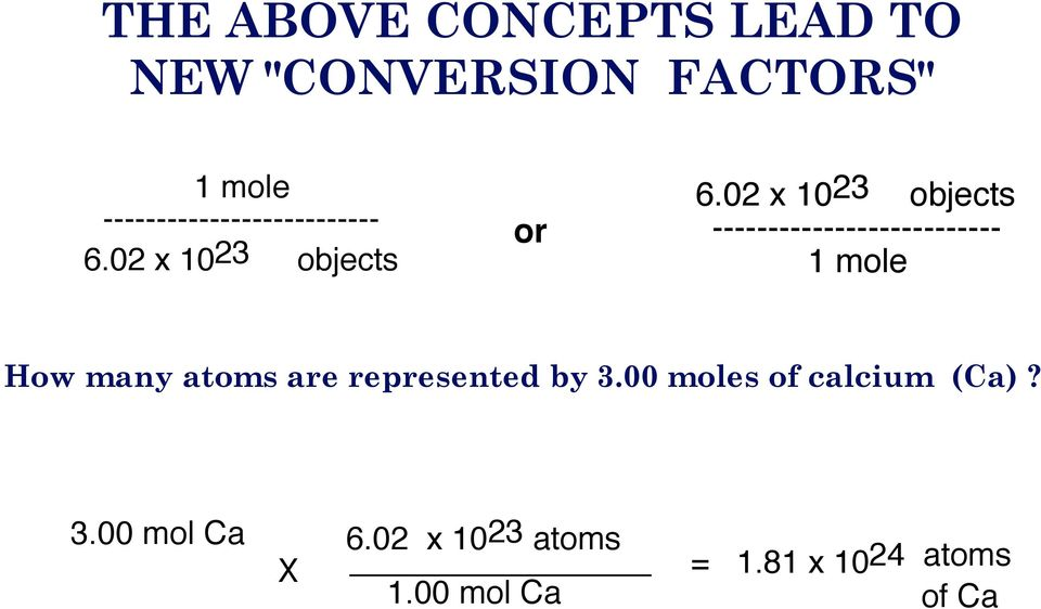 02 x 1023 objects -------------------------- 1 mole How many atoms are