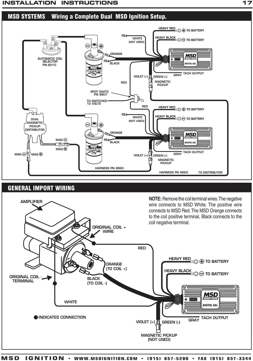 Msd Digital 6a And 6al Ignition Control Pn 6201 Pdf 6aln Wiring Diagram With Ballast Resistor Harness 8860 To General Import A Toyota Tach Adapt 8910hei