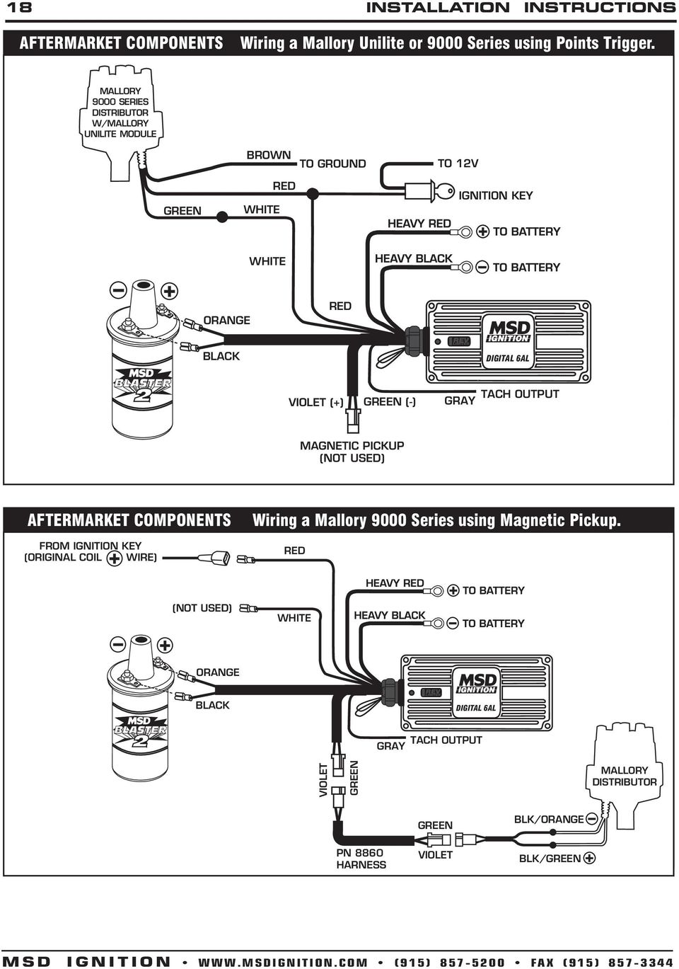 Msd Digital 6a And 6al Ignition Control Pn 6201 Pdf Mallory Electronic Distributor Wiring Diagram 9000 Series W Unilite Module Brown To Ground 12v Green Key