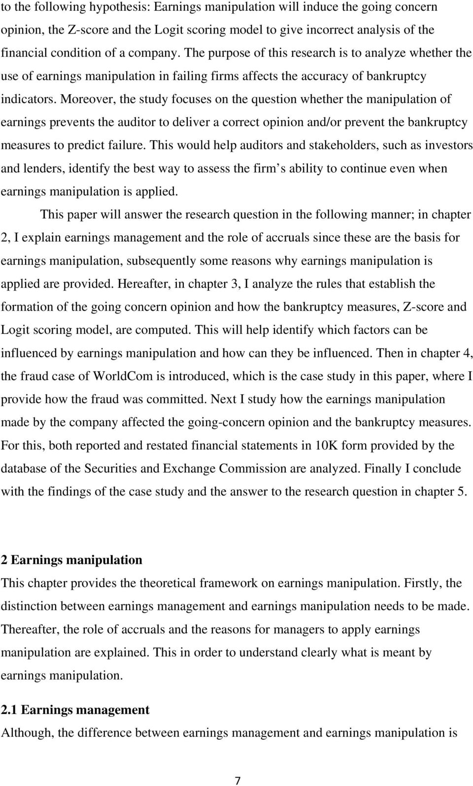 Earnings manipulation and bankruptcy: WorldCom - PDF
