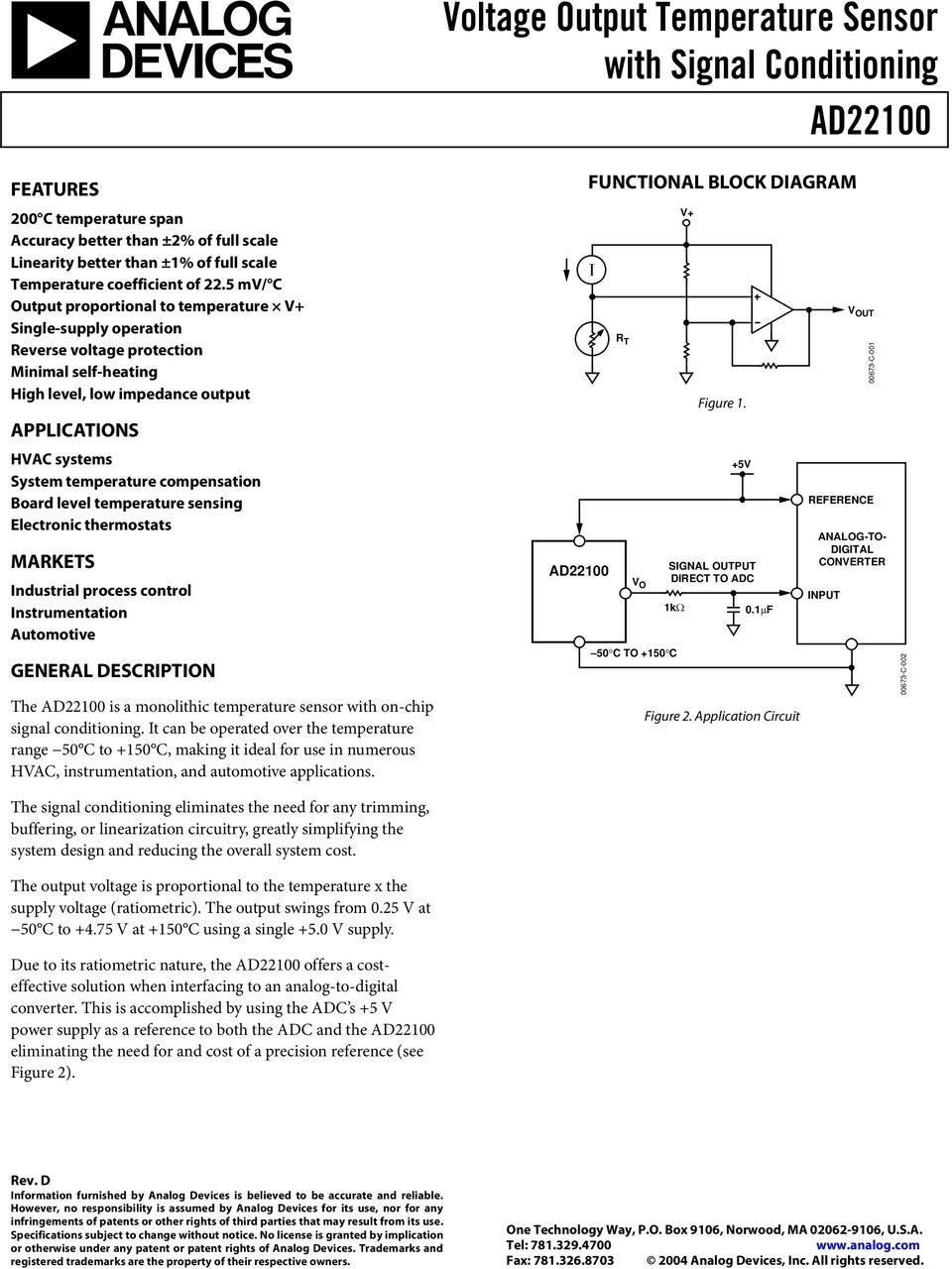 Voltage Output Temperature Sensor With Signal Conditioning Ad Pdf Sensing And Control 5 Mv C Proportional To V Single Supply Operation Reverse Protection