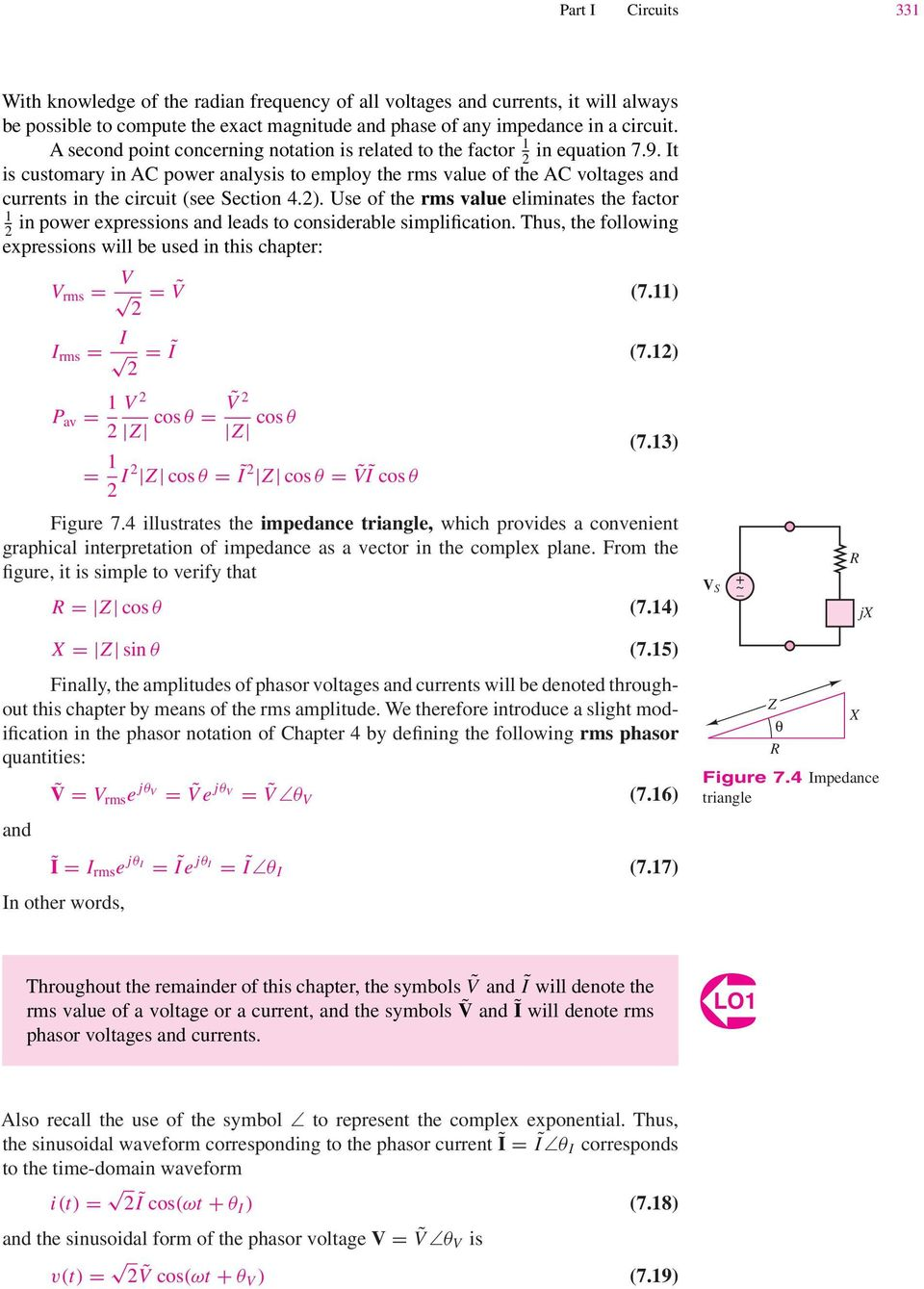71 Power In Ac Circuits Pdf 12 Parallel It 2 Is Customary Analysis To Employ The Rms Value Of