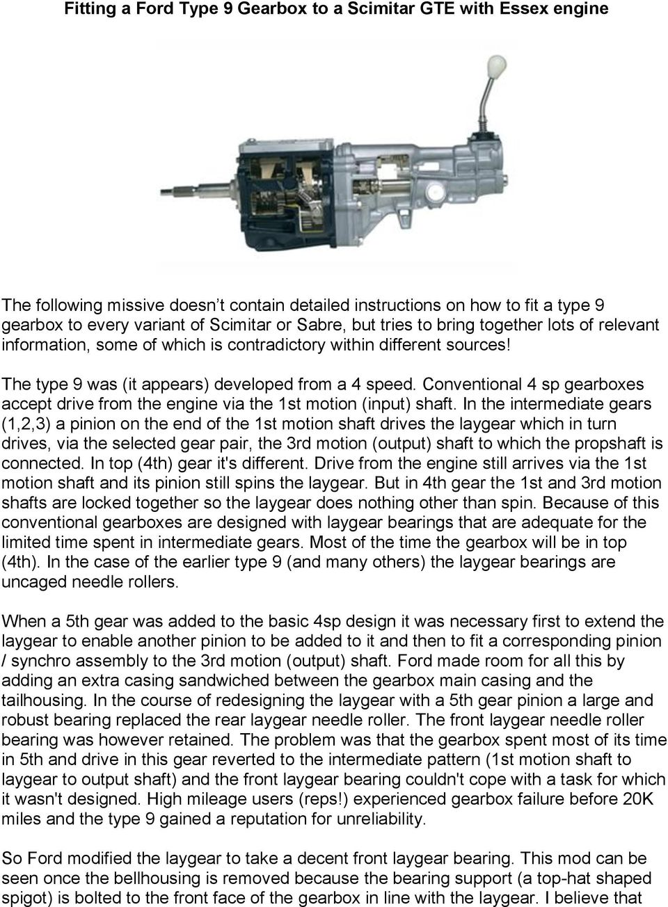Fitting a Ford Type 9 Gearbox to a Scimitar GTE with Essex engine - PDF