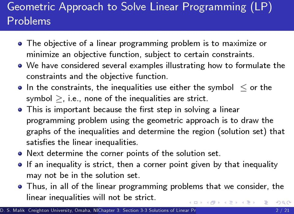 Chapter 3: Section 3-3 Solutions of Linear Programming Problems - PDF