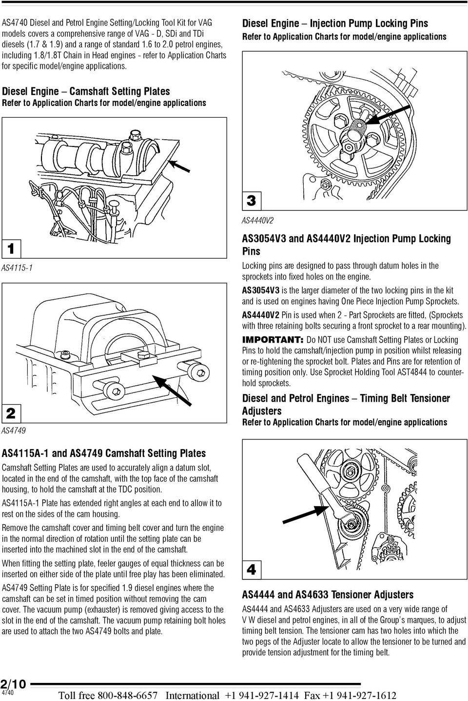 As4740 Diesel Petrol Engine Setting Locking Tool Kit Associated Volkswagen Diagram Diese Injection Pump Pins Refer To Appication Charts For Mode Appications