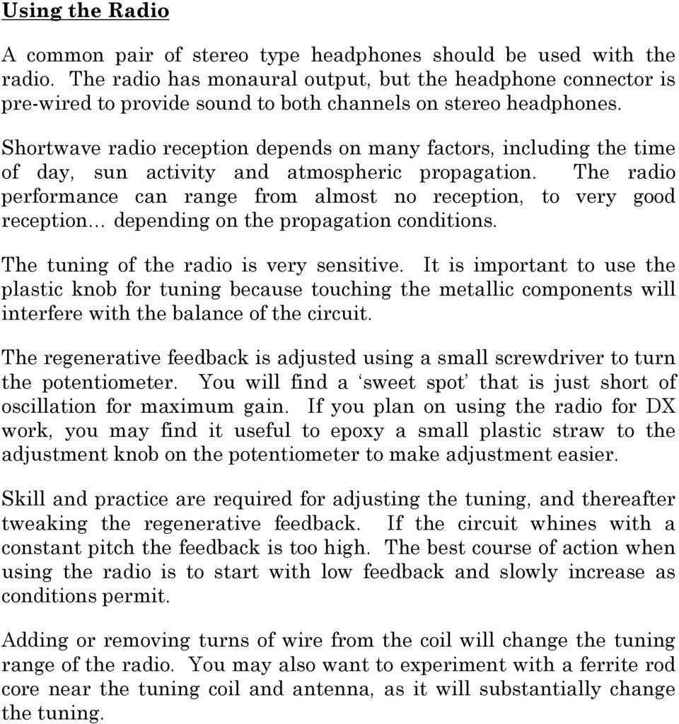 Assembly Instructions Shortwave Radio Kit Pdf Am Fm Sw Active Antenna Circuit Reception Depends On Many Factors Including The Time Of Day Sun Activity