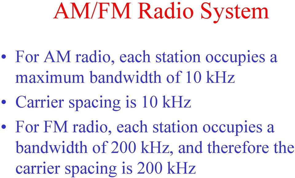 spacing is 10 khz For FM radio, each station