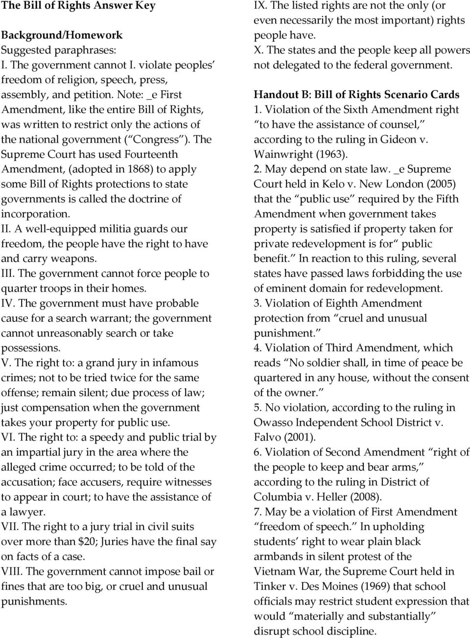 The Bill Of Rights Lesson Three Critical Engagement Question