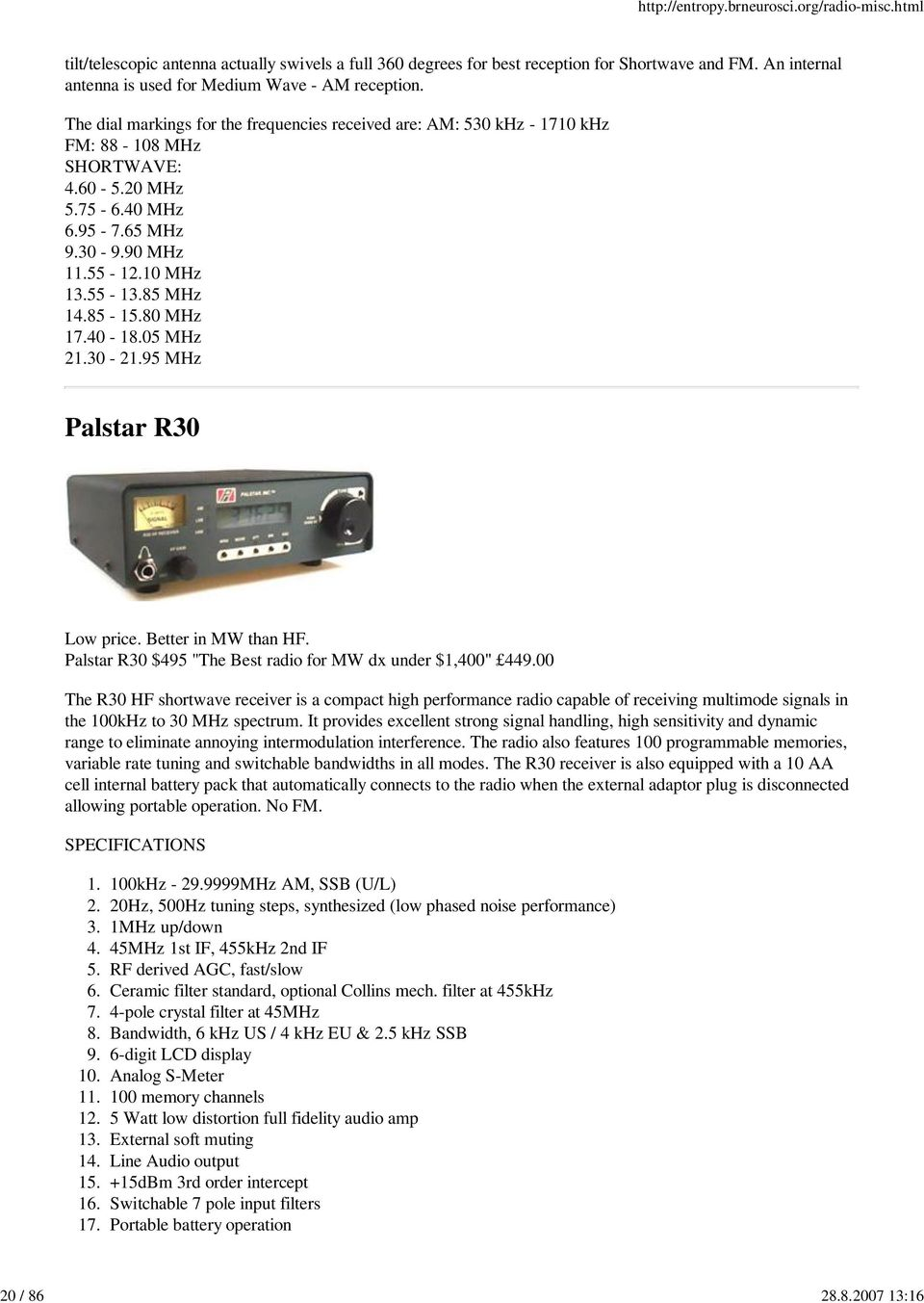 Specifications Of Shortwave Radios From Various Manufacturers Pdf Active Antenna Aa 7 Hf Vhf Uhf 3 3000mhz 80 Mhz 1740 1805 2130 2195 Palstar R30 Low Price Better