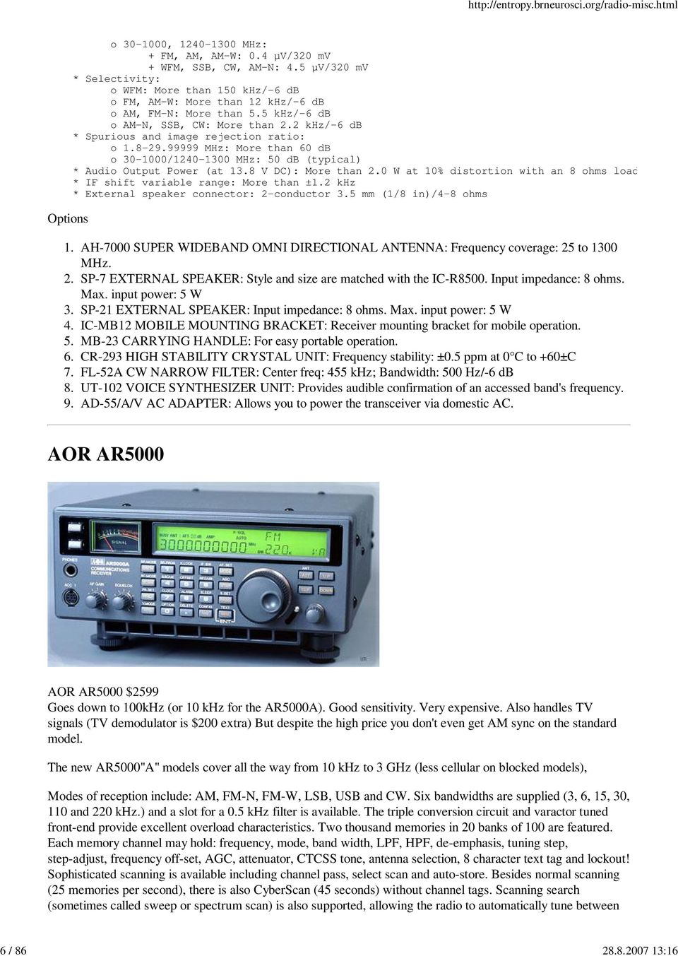 Specifications of shortwave radios from various
