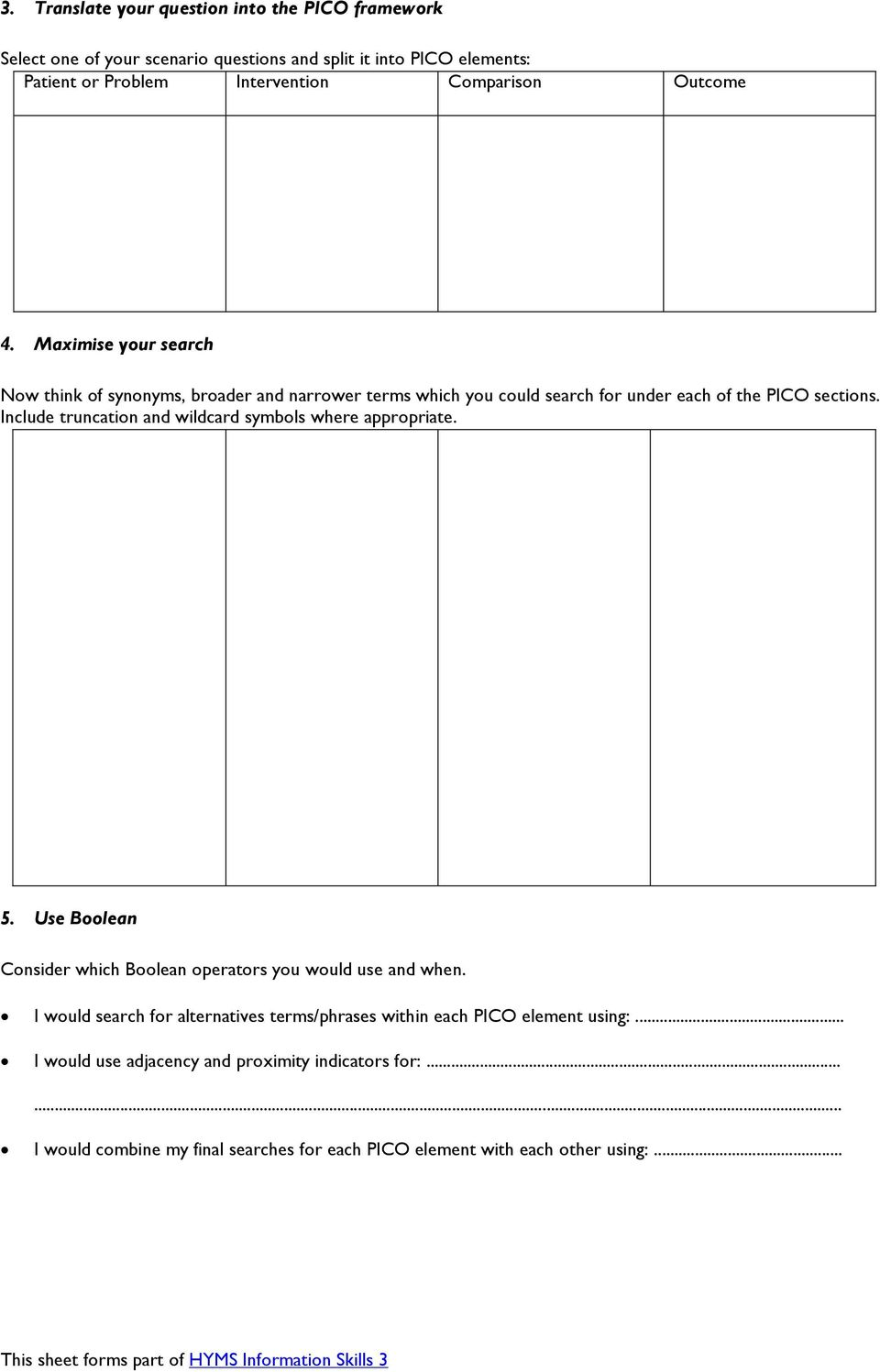 Pico And Search Strategy Worksheet 1 Pdf