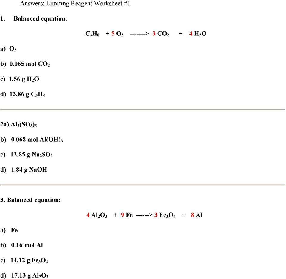 Worksheets Limiting Reagent Worksheet Answers limiting reagent worksheet 1 pdf 56 g h 2 o d 13 86 c 3 8 2a al 4 worksheet
