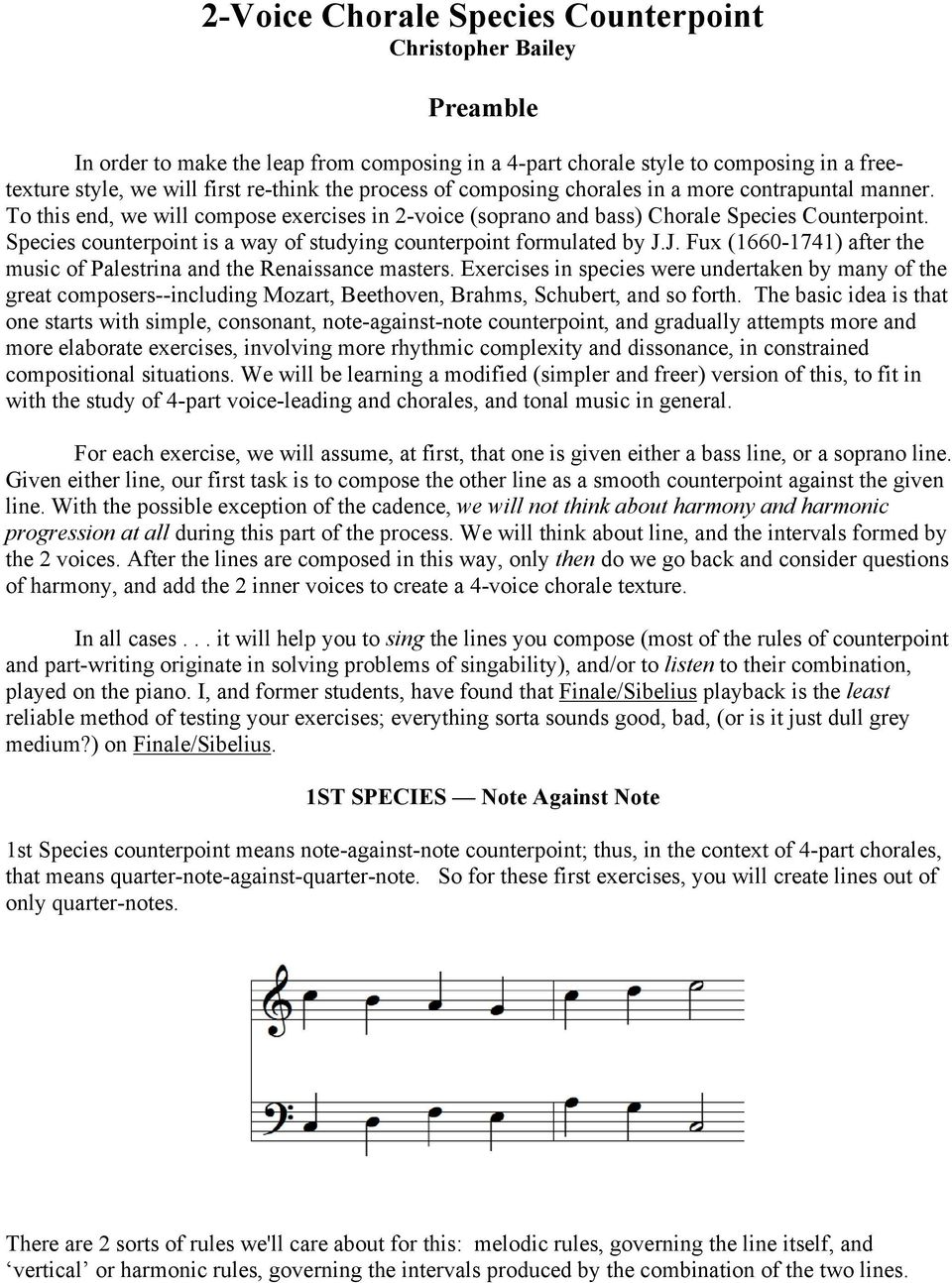 2-Voice Chorale Species Counterpoint Christopher Bailey - PDF