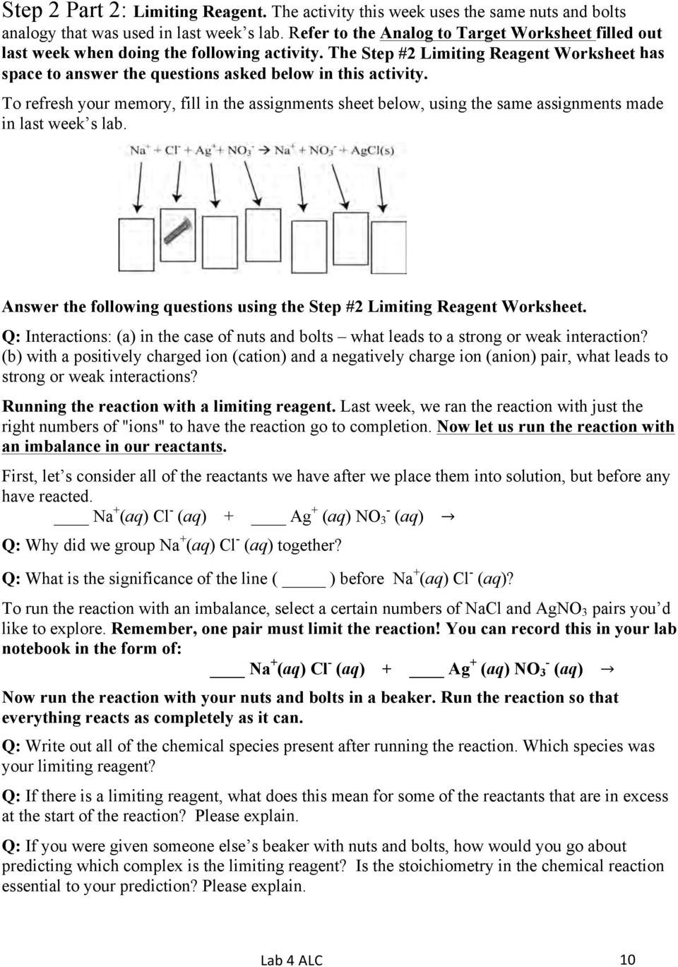 Limiting Reagent Using An Analogy And A Learning Cycle Approach Pdf