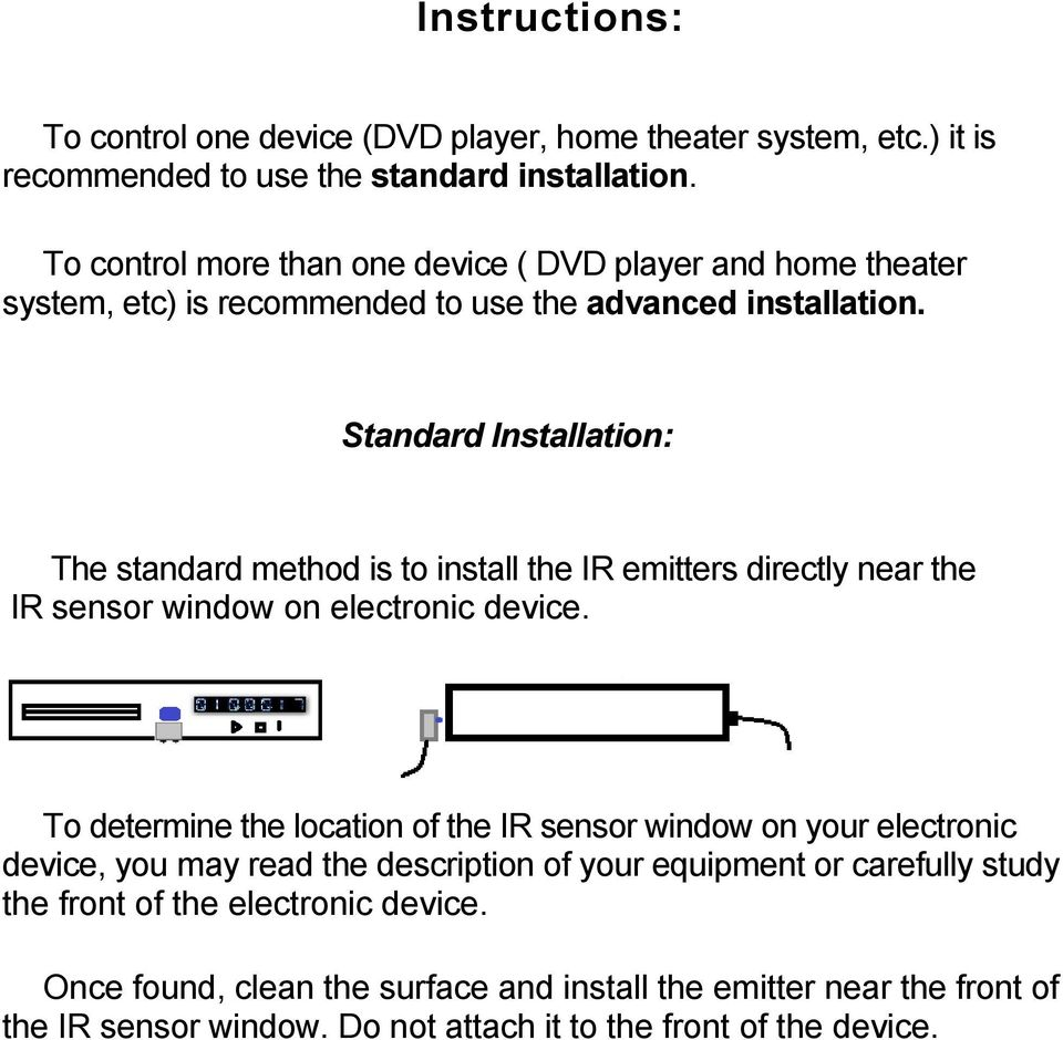 Standard Installation: The standard method is to install the IR emitters directly near the IR sensor window on electronic device.