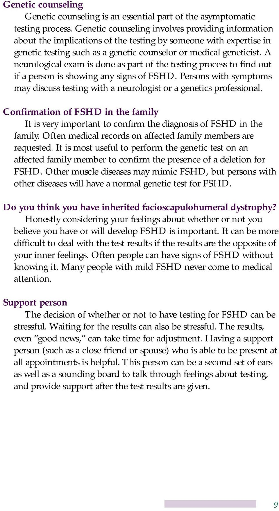 Facioscapulohumeral Muscular Dystrophy: Making an Informed