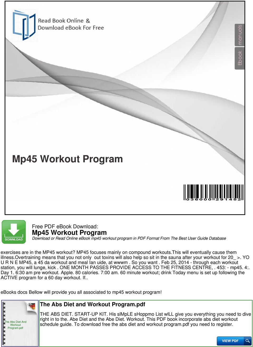 Mp45 Workout Program Download or Read Online ebook mp45
