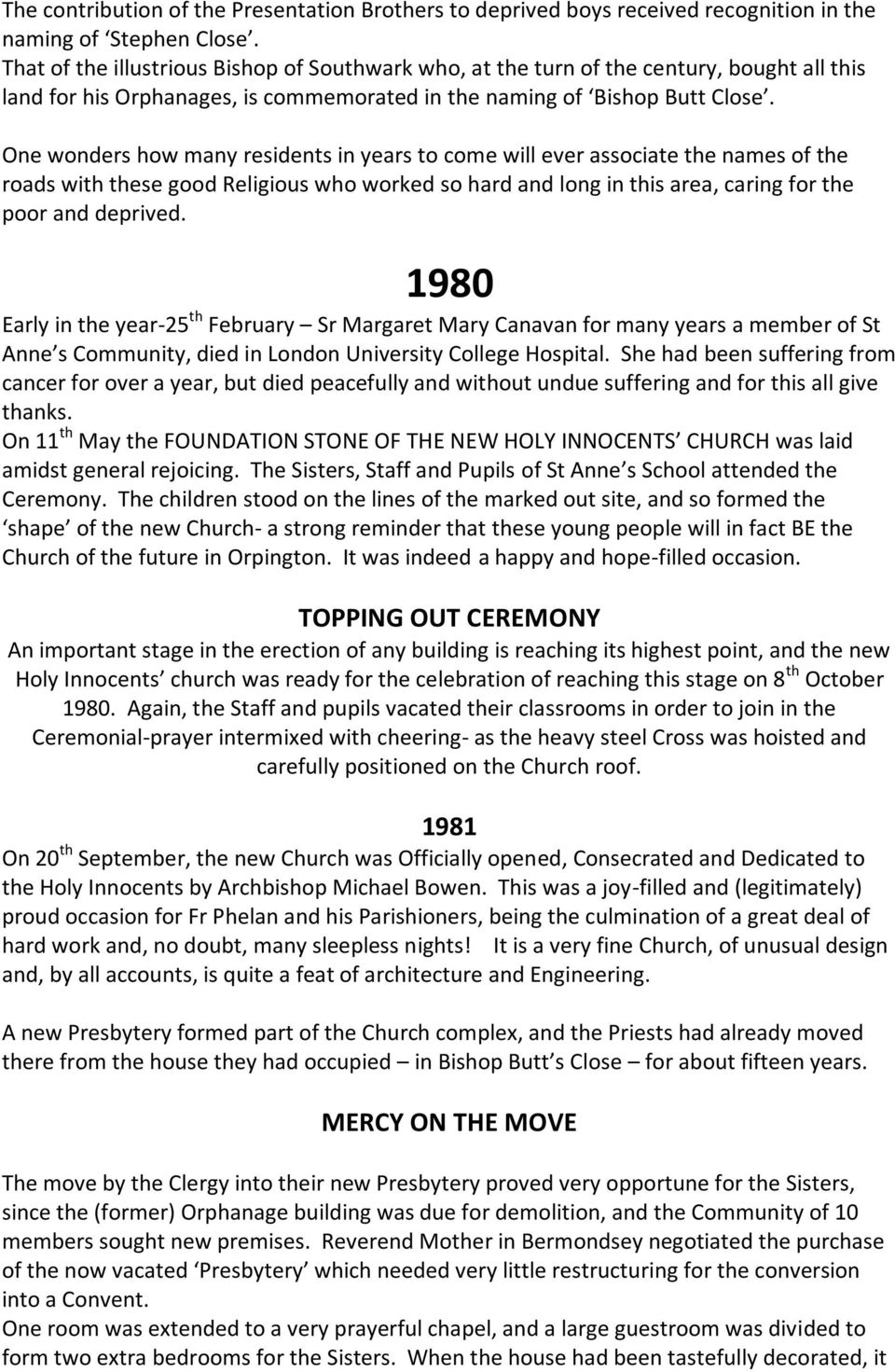 An Outline of the History of St Anne's Convent, Orpington - PDF