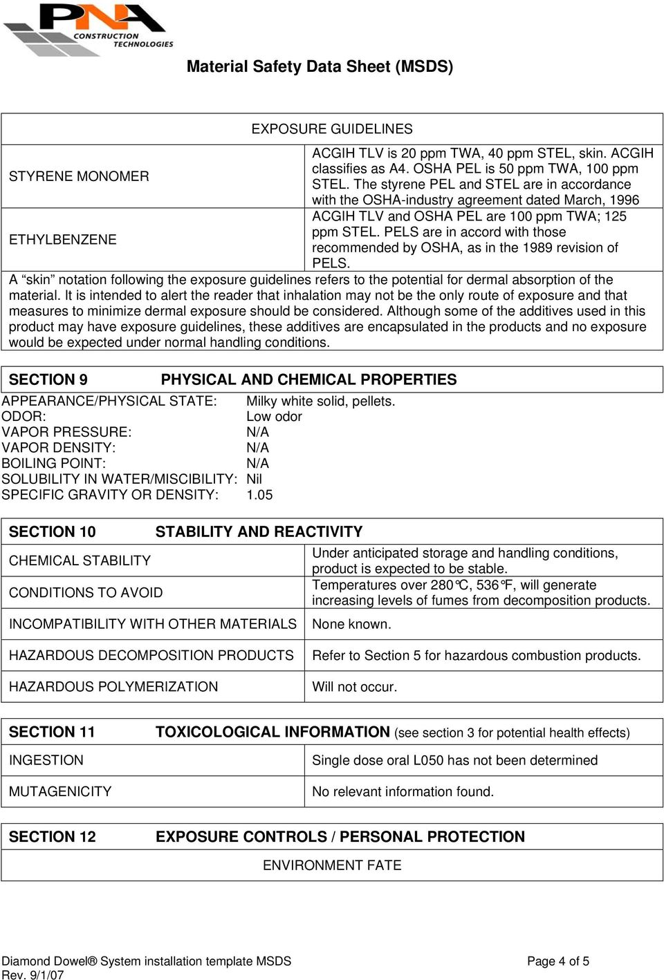 Material Safety Data Sheet (MSDS) - PDF