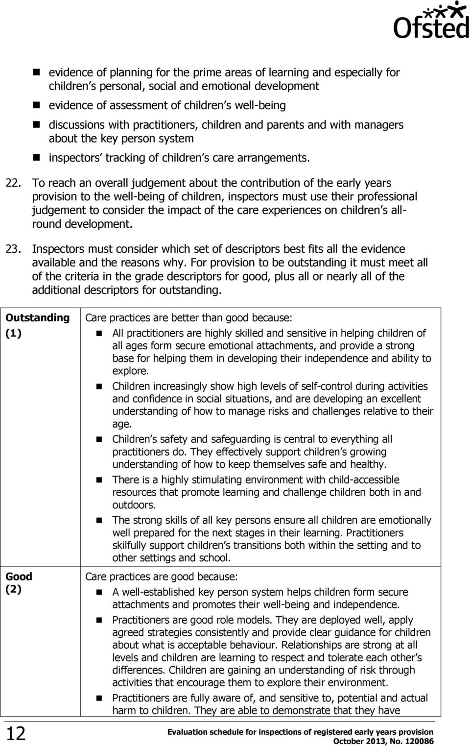 To reach an overall judgement about the contribution of the early years provision to the well-being of children, inspectors must use their professional judgement to consider the impact of the care