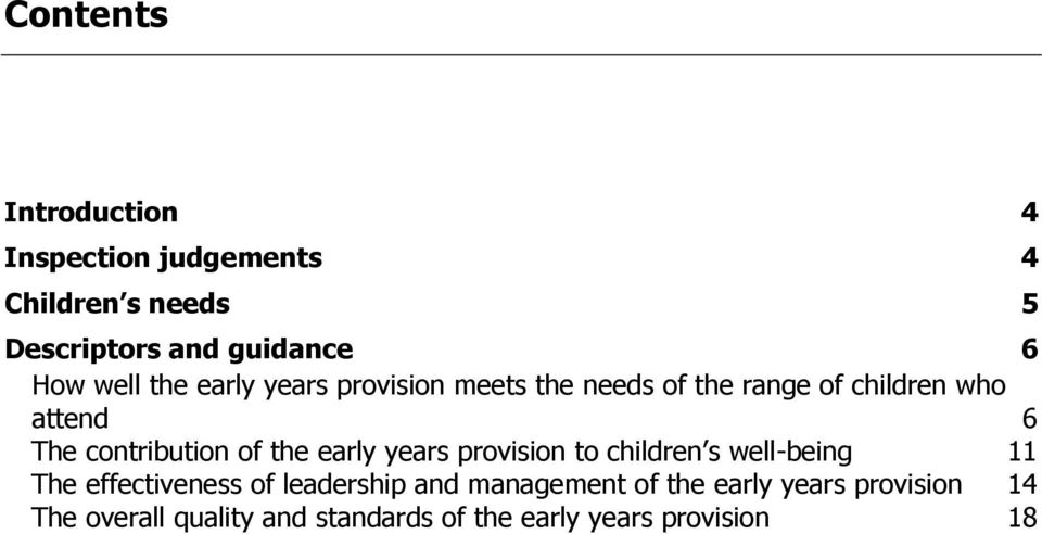 contribution of the early years provision to children s well-being 11 The effectiveness of
