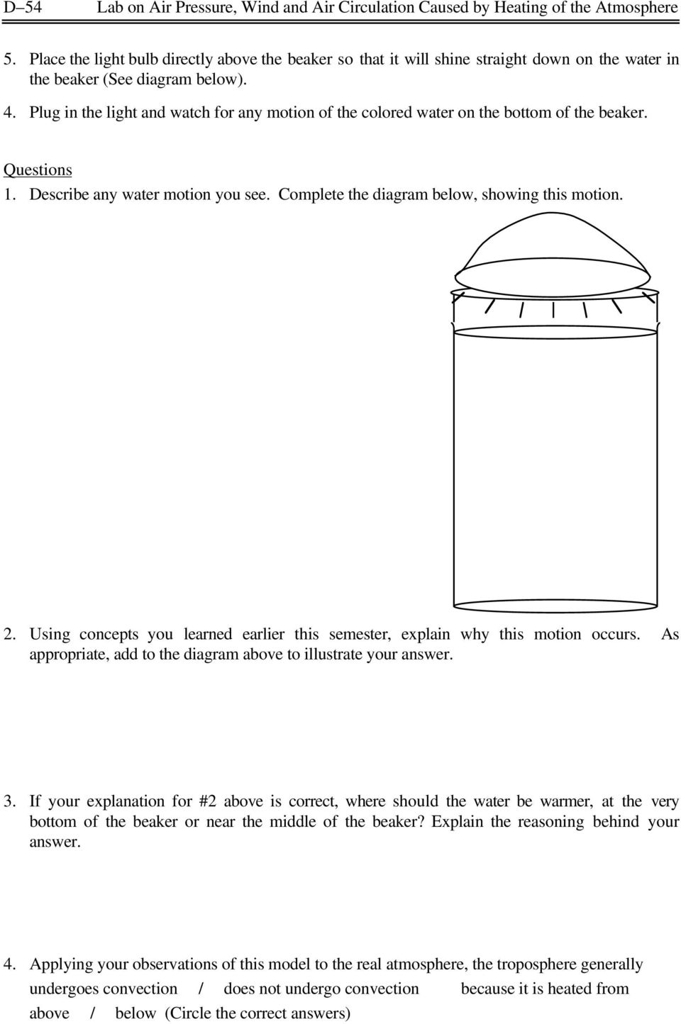 Plug in the light and watch for any motion of the colored water on the bottom of the beaker. Questions 1. Describe any water motion you see. Complete the diagram below, showing this motion. 2.