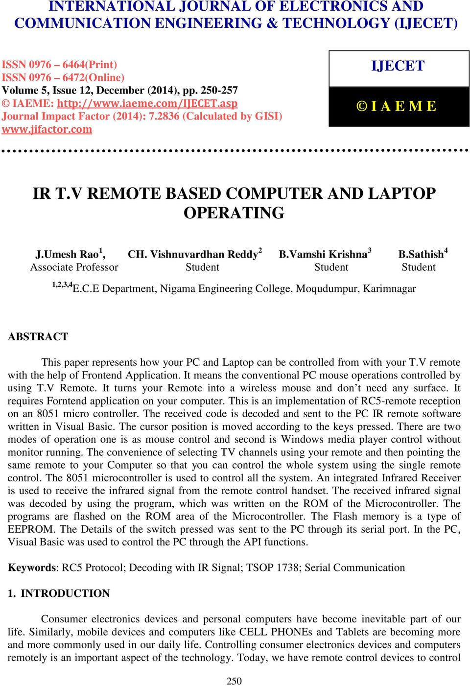 Ir Tv Remote Based Computer And Laptop Operating Pdf Universal Rc5 Rc6 Transceiver With Pic16f628 Com Ijecet I A E M Jumesh Rao 1