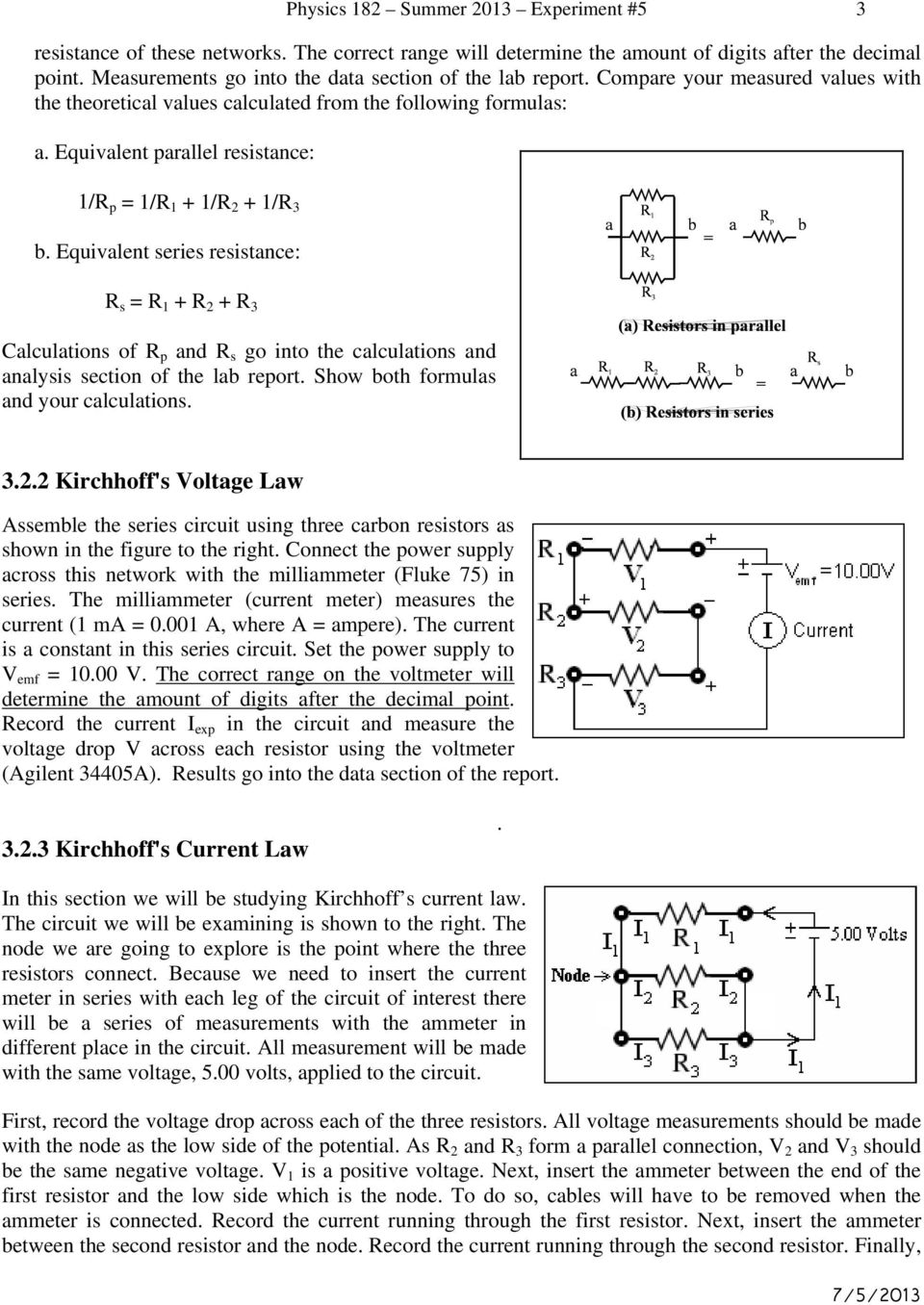 Experiment 5 Series And Parallel Circuits Kirchhoff S Laws Pdf Dc Circuit Analysis Voltage Divider Part 1 Equivalent Resistance R P