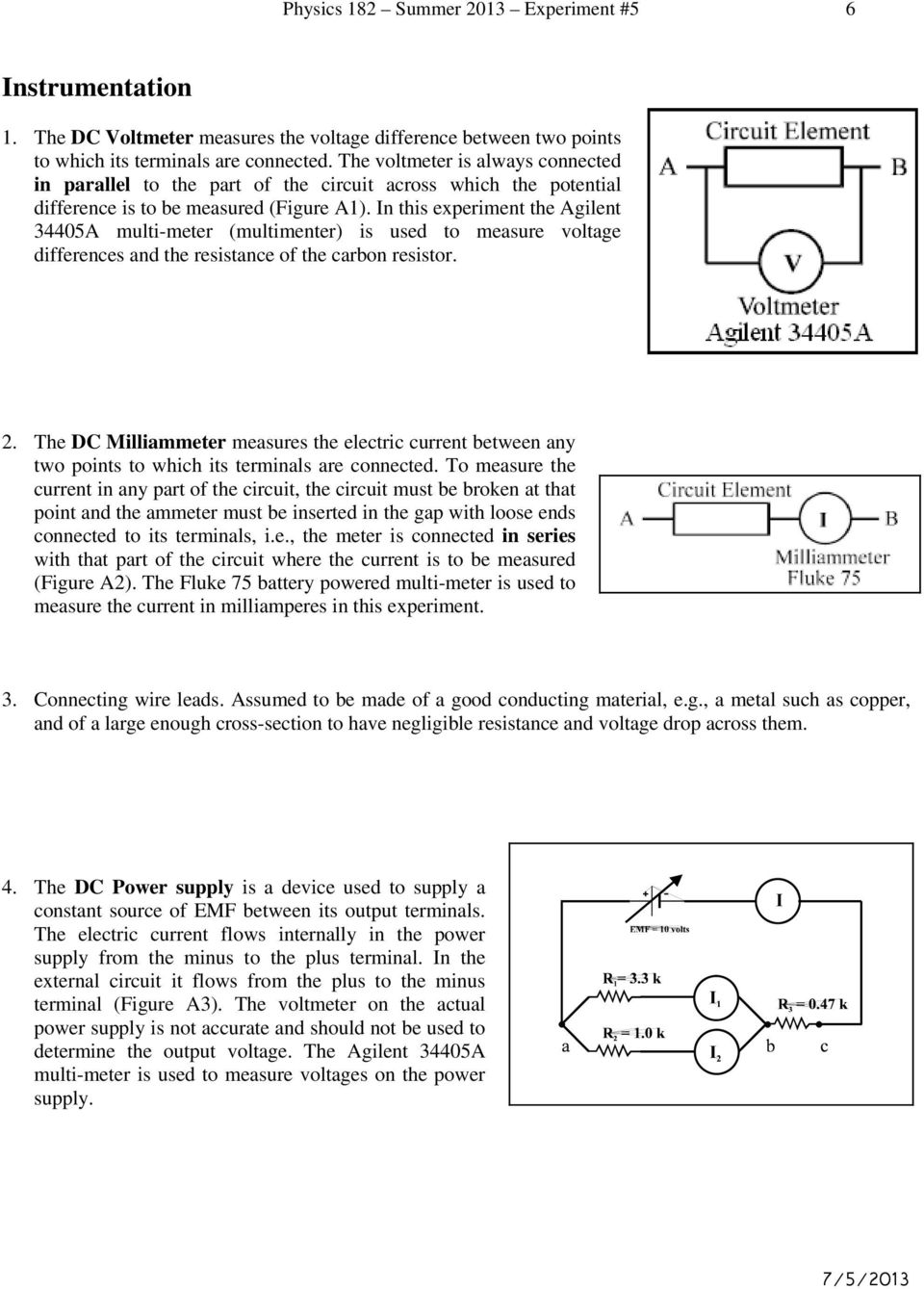 Experiment 5 Series And Parallel Circuits Kirchhoff S Laws Pdf Voltage Drop In A Circuit This The Agilent 34405a Multi Meter Multimenter Is Used To Measure