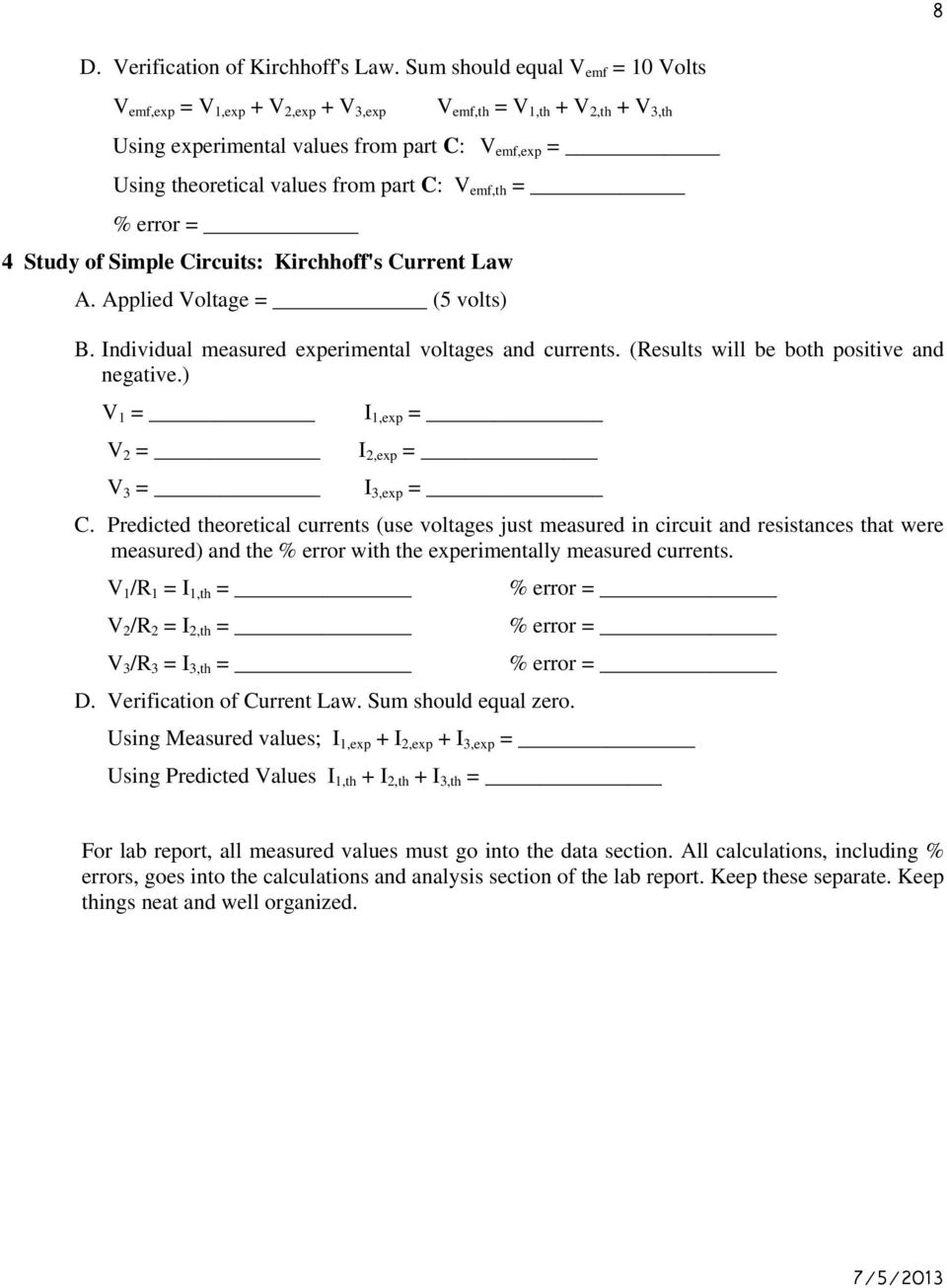 Series And Parallel Circuits Lab Error Analysis Worksheet Circuit 5 Experiment Kirchhoff S Laws Pdf Rh Docplayer Net