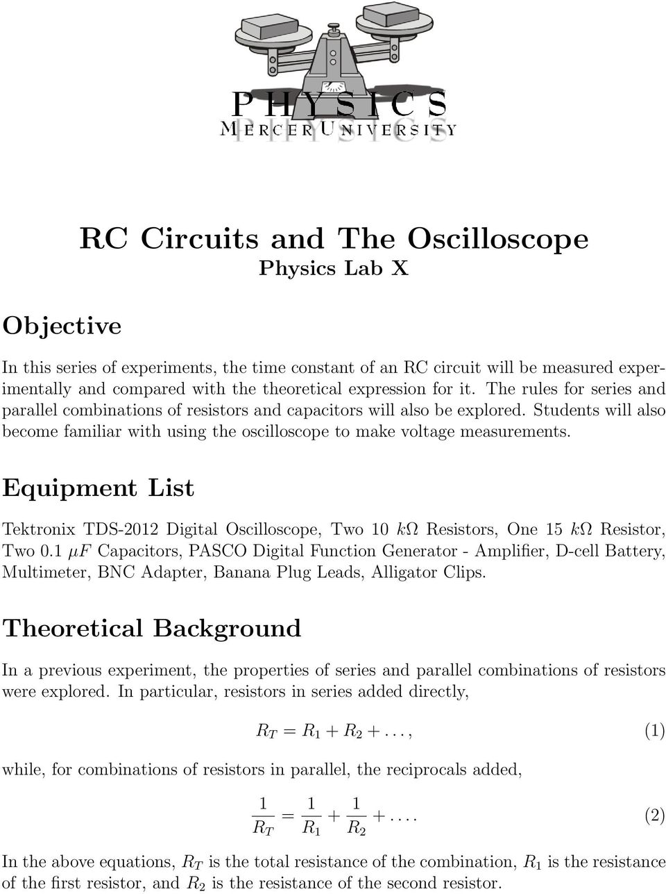 Rc Circuits And The Oscilloscope Physics Lab X Pdf Series Or Rl Circuit Into An Equivalent Parallel Transcription