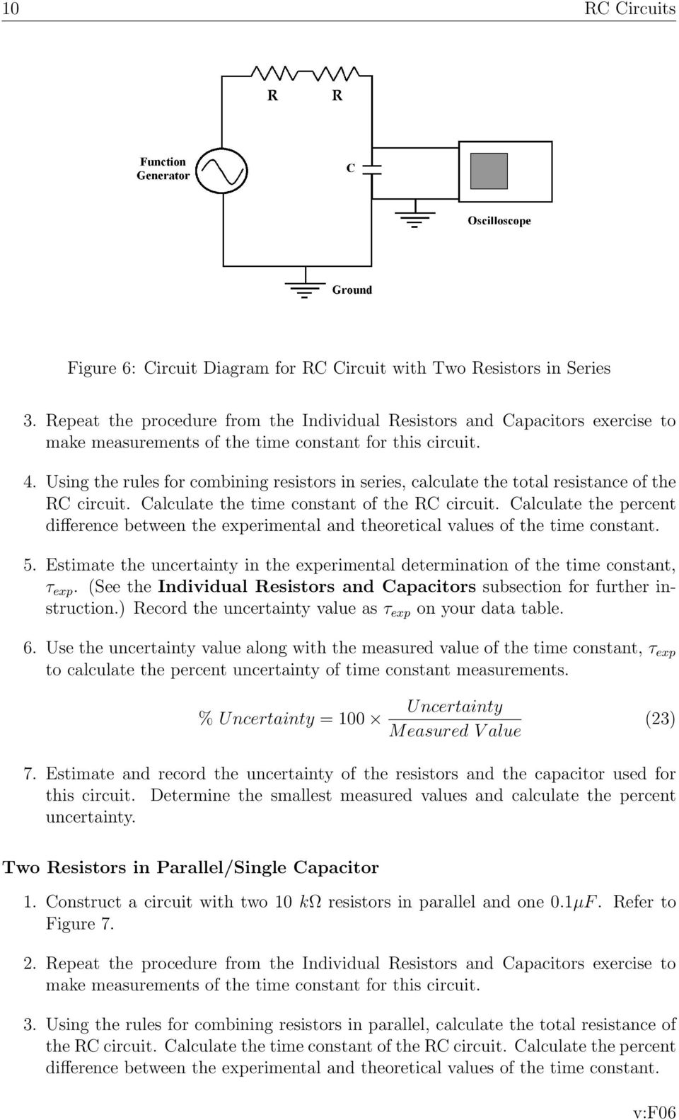Rc Circuits And The Oscilloscope Physics Lab X Pdf Combined Resistance Of Resistors In Series Is Sum All Using Rules For Combining Calculate Total