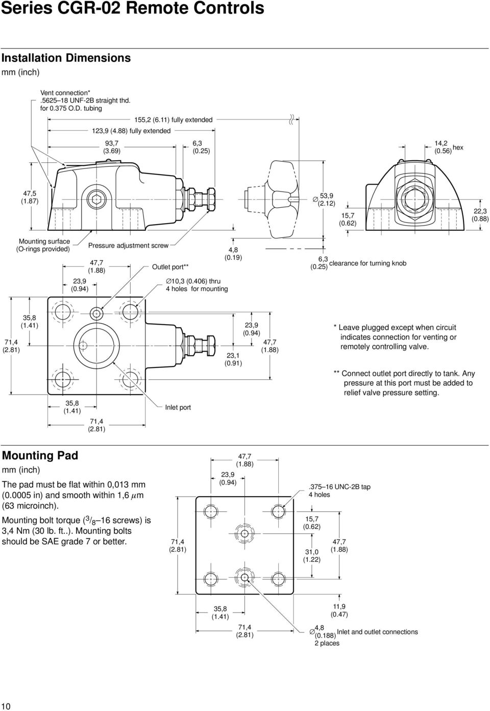 Pressure Relief Valves Vickers Pdf This Application Diagram Indicates How Loadsensing Control 46 Thru 4 Holes For Mounting 48 19 6