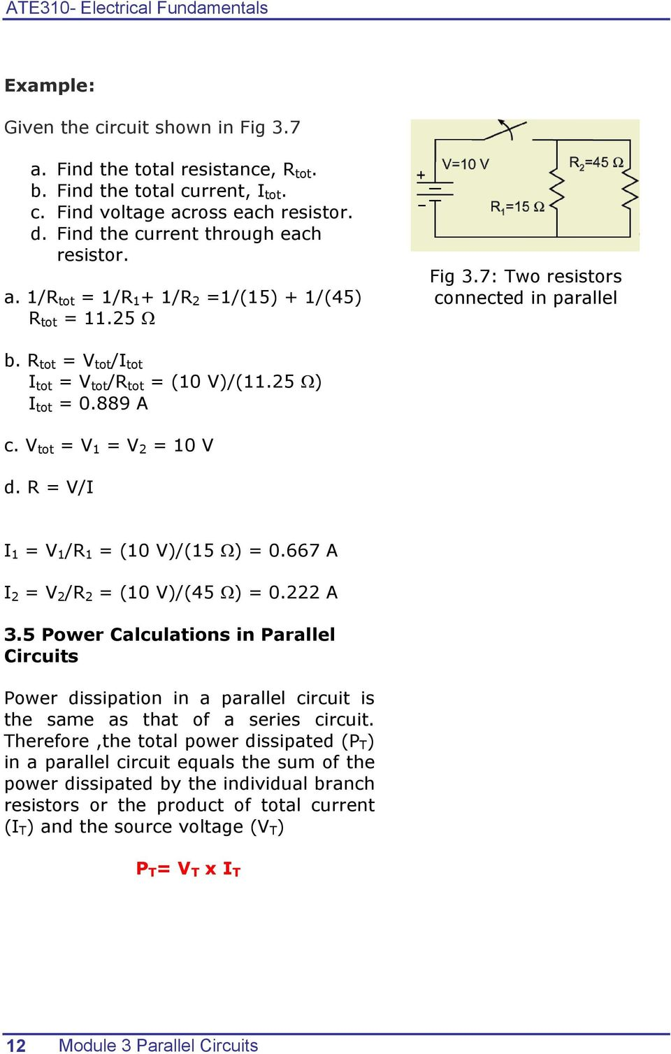 Electrical Fundamentals Module 3 Parallel Circuits Pdf Series Circuit Examples Real Life Added To The R Tot V I
