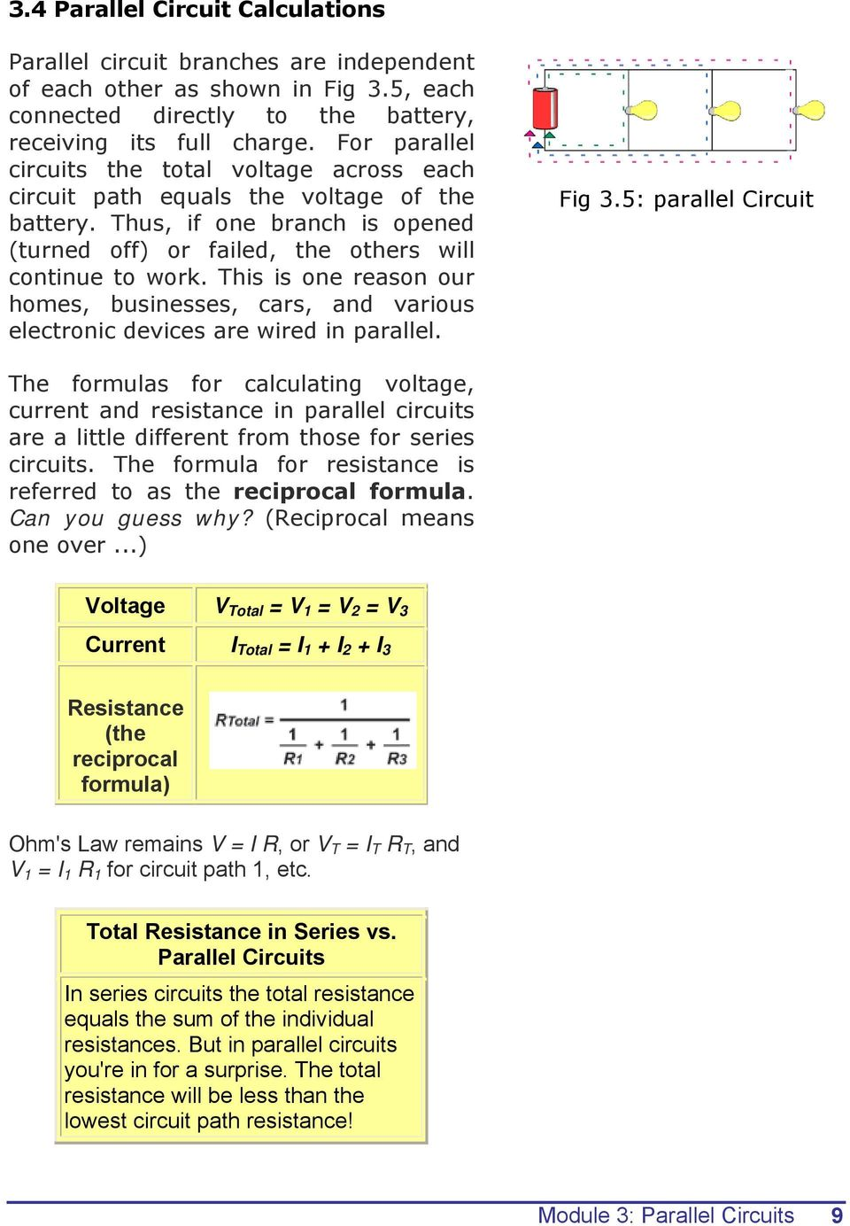 Series Circuit And Parallel Electrical Fundamentals Module 3 Circuits Pdf 9 This Is One Reason Our Homes Businesses Cars Various Electronic Devices Are
