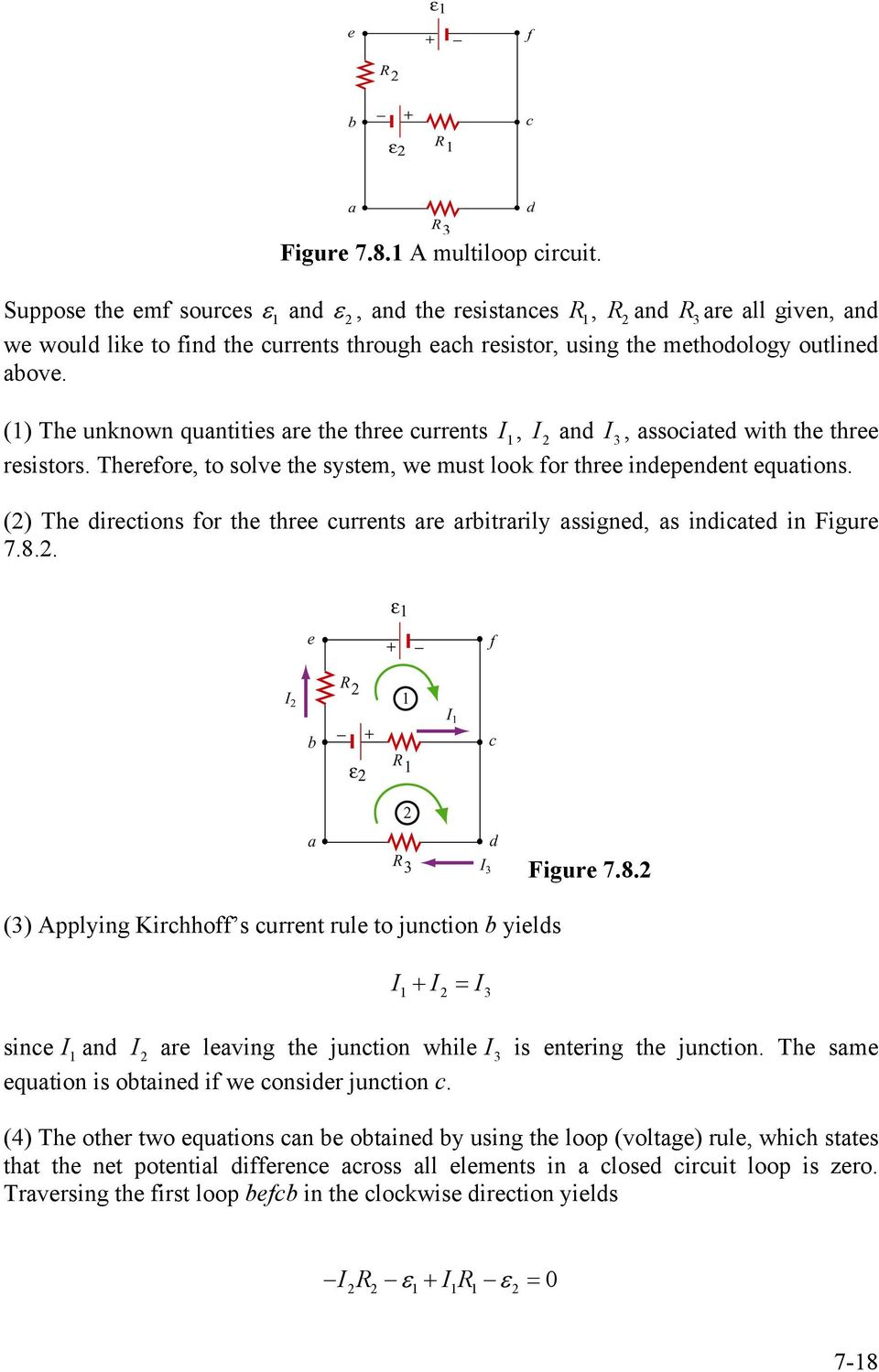 Chapter 7 Direct Current Circuits Pdf To Calculate The Through Resistor R 1 In Two Loop Circuit Unknown Quantities Are Three Currents I And 3