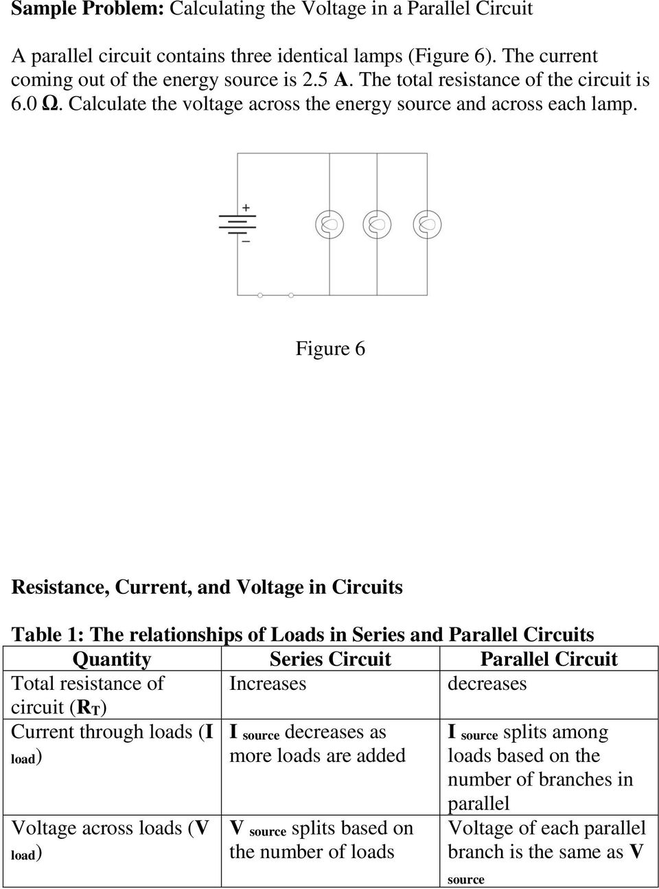 1310 How Series And Parallel Circuits Differ Pg Pdf Resistance In A Circuit Figure 6 Current Voltage Table 1 The Relationships Of