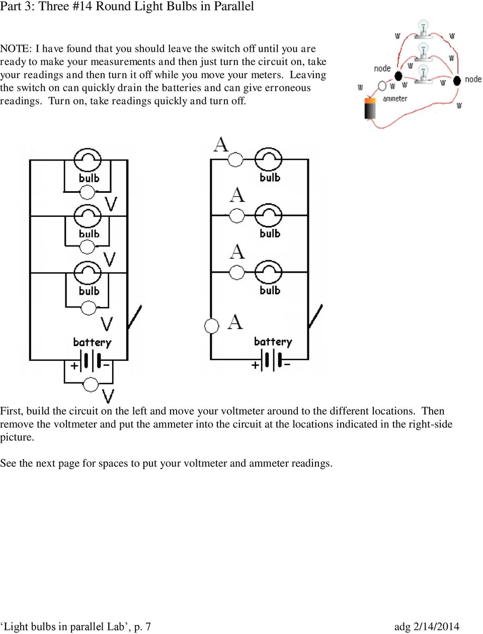 Light Bulbs In Parallel Circuits Pdf Bulb Wiring Diagram Turn On Take Readings Quickly And Off First Build The Circuit
